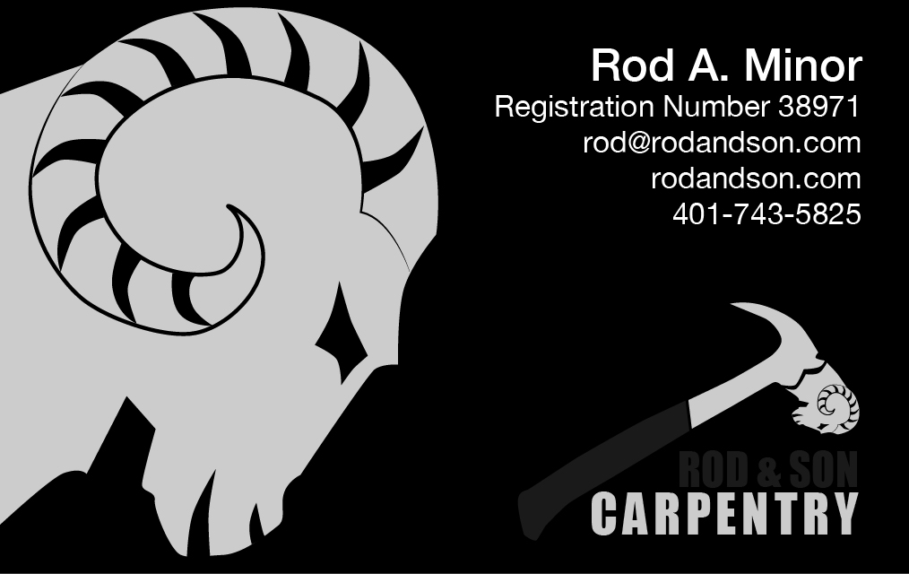 rod and son, rod and son business card, business card